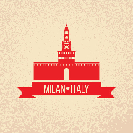 milan: Grunge rubber stamp with symbol of Milan, Italy Illustration