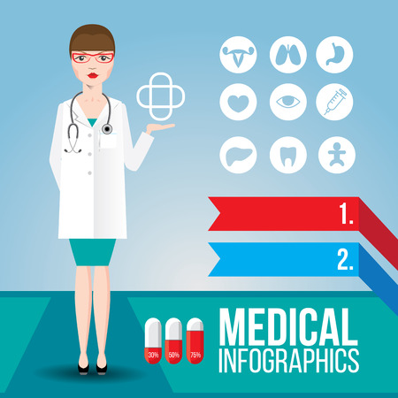 ovaries: Medical infographic. Young smiling woman doctor with stethoscope on blue background. Set of flat icons as bonus. Cartoon character for identity of a clinic Illustration