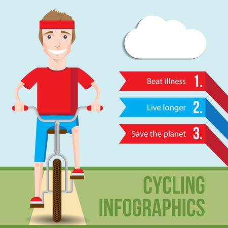 hombre caricatura: Bicicletas concepto infograf�a con vista frontal de la sonrisa del hombre inconformista montando en una bicicleta. Vector fiat ilustraci�n. Beneficios para la salud de Ciclismo. El estilo de vida de la Salud