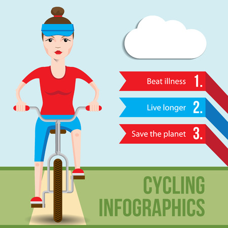 cartoon biker: Bicycle infographics concept with front view of smiling cartoon hipster woman riding on a bike. Vector fiat illustration. Health Benefits of Cycling. Helth lifestyle