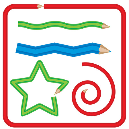 page borders: Set of pencils in different shapes. Star, wave. zigzag and spiral made with pattern brush