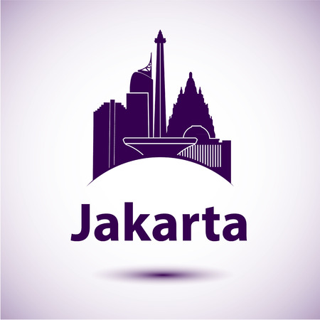jakarta: Jakarta Indonesia city skyline silhouette. Vector illustration Stock Photo