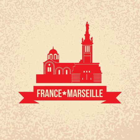 ノートルダム ド ラ ガルド - マルセイユ、フランスのシンボルのベクトル シルエット。  イラスト・ベクター素材