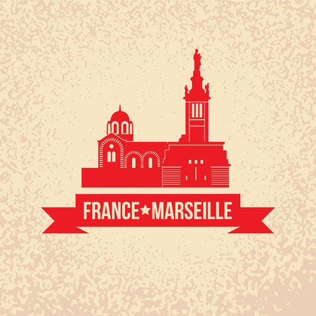 Vector silhouette of Notre-Dame de la Garde - the symbol of Marseille, France. Illusztráció