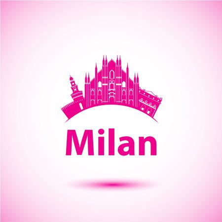 Milan Italy city skyline silhouette.