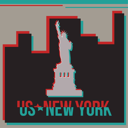 new york skyline: New York skyline Glitch effect. Illustration