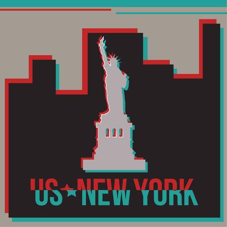 new york skyline: New York skyline Glitch effect. Illustration
