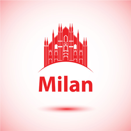cathedrals: Milan Italy city skyline silhouette.  Illustration