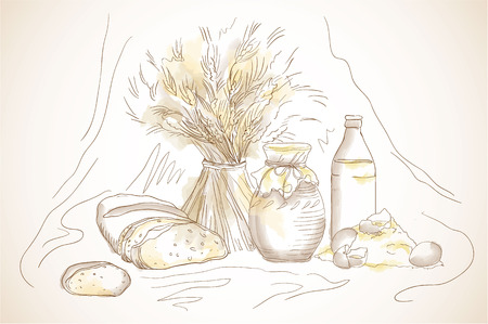 baked beans: Hand drawn still life with sheaf of wheat milk in a bottle and in a pitcher, cookies and bread. Doodle concept for advertising campaign dairy and flour products. You can move each object individually. Illustration