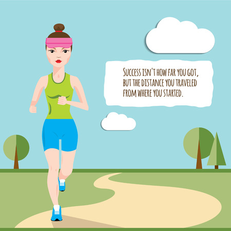 girl sport: Woman running across the field in the morning. Vector flat infographic