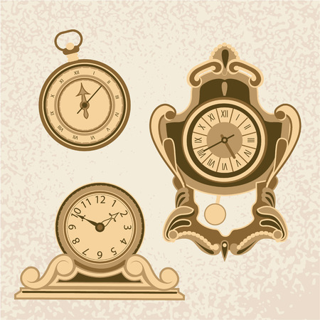 antiquarian: Clock Time Timepiece Antique Vintage Ancient Classic Old Traditional Retro Illustration