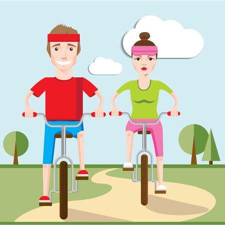 一緒に自転車に乗って幸せな家族のイラスト。男の子と女の子。