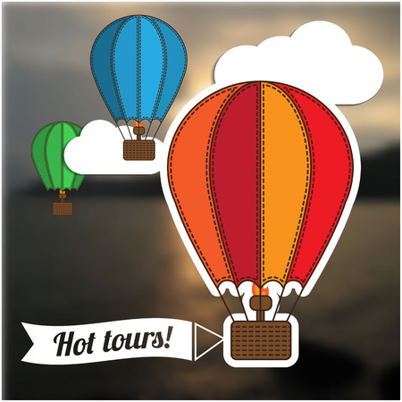 hot tour: Hot tour template, the flying balloon with a banner