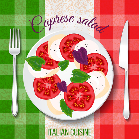 mozzarella: Traditional Italian cuisine. Close up top front view. Caprese salad on table with flag tablecloth. Mozzarella, tomato, basil and peppercorn on the plate. Hand drawn vector illustration.