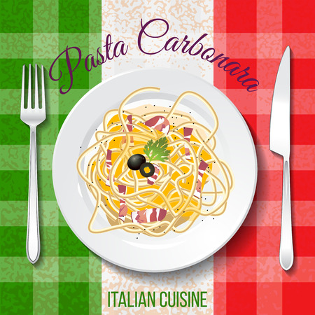 Traditional Italian cuisine. Close up top front view. Hundred carbonara  on table with flag tablecloth. Spaghetti with bacon,  eggs and cheese on the plate Vectores