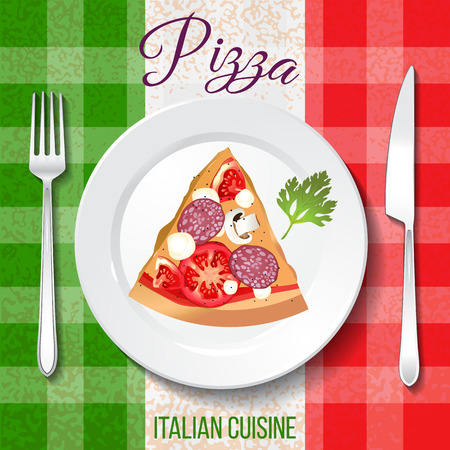 Traditional Italian cuisine. Close up top front view. Pizza on the plate on table with flag tablecloth.
