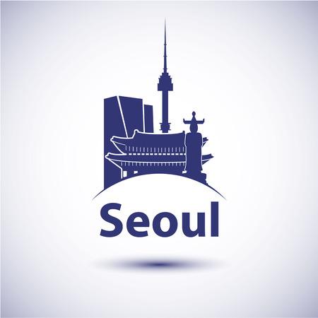 韓国ソウル市のスカイラインのシルエット。ベクトル図