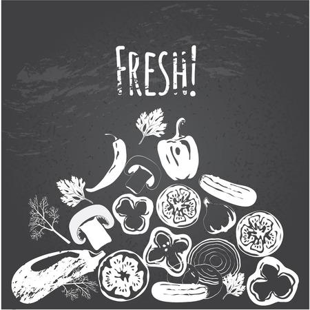 Collection of hand drawn vegetables on chalkboard, high detailed, vector illustration, sketch, engraved style, menu design.
