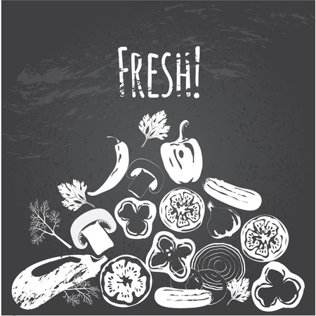 Collection of hand drawn vegetables on chalkboard, high detailed, vector illustration, sketch, engraved style, menu design.