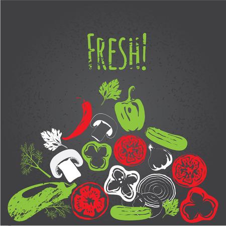 手描きの野菜黒板、高のコレクションは、詳細図、スケッチ、彫刻のスタイル、メニュー デザインをベクトルします。