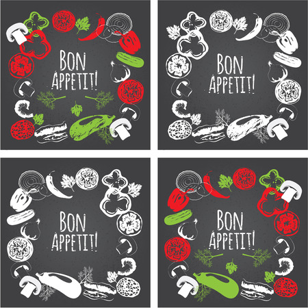 Collection of hand drawn vegetables on chalkboard, high detailed, vector illustration, sketch, engraved style, menu design. Decorative frame. Bon Appetit. Illusztráció
