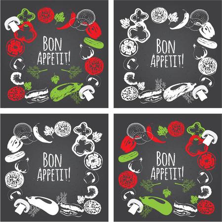 engraved: Collection of hand drawn vegetables on chalkboard, high detailed, vector illustration, sketch, engraved style, menu design. Decorative frame. Bon Appetit. Illustration