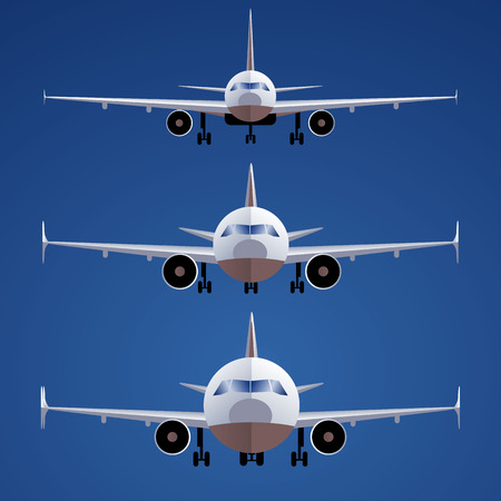 Set of airplanes on isolated on blue background. Front view. different scales. One of type of passenger transportation.