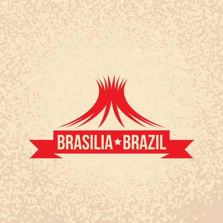 brasilia: Brasilia skyline. vector illustration. Retro stamp.