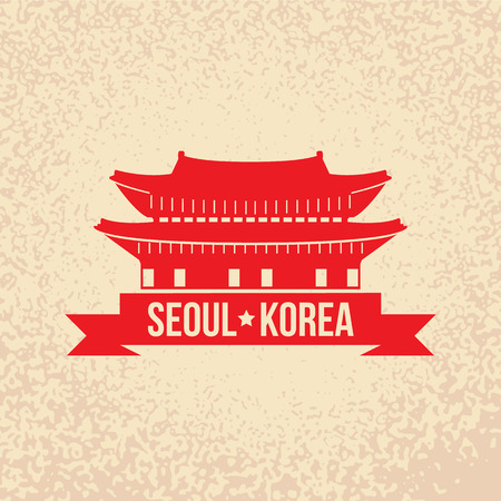 south east asian: Gyeongbokgung - the symbol of Seoul, Korea. Retro rubber stamp.