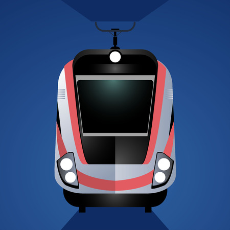 Modern high-speed train isolated on blue background. Front view. One of type of passenger transportation.