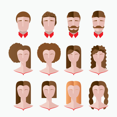 perming: Set of Various hairdresser silhouettes, Permanent straightening, perming, hair coloring, cutting, styling , Mans and woman faces. Illustration