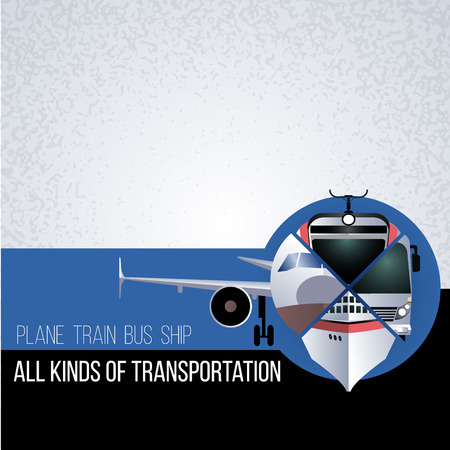 air liner: Original collage with different types of transport. The concept for banner, flyer, advertising travel agencies. The plane, bus, train and ship in a circle. Front view.