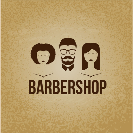 perming: Design concept of the logo. Barbershop hairdresser. Permanent brazillian straightening, perming, hair coloring, cutting, styling , Mans and woman faces. Flat design.