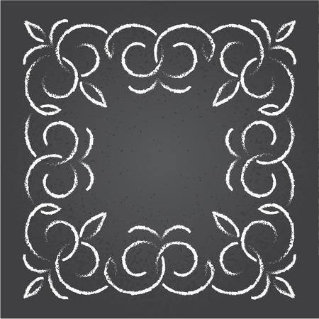 Chalk retro graphic line elements, dividers and monogram frame on a blackboard, vector design. Illustration