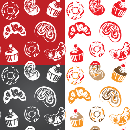 screen printing: Seamless pattern with various pastries. One color vector design. Can be used in Screen printing, flexography or as web page background, wrapping, textile and scrapbook. Illustration