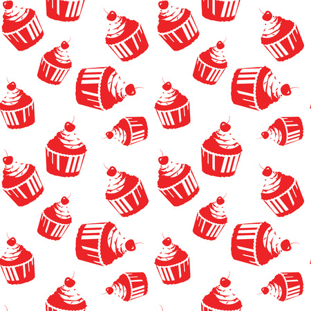 screen printing: Seamless pattern with capcake. One color vector design. Can be used in Screen printing, flexography or as web page background, wrapping, textile and scrapbook. Illustration