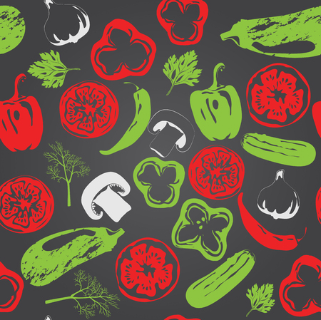 screen printing: Vector seamless pattern with vegetables. Can be used in Screen printing, flexography or as web page background, wrapping, textile and scrapbook.