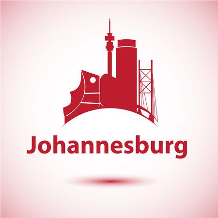 ヨハネスブルグ南アフリカ都市スカイライン シルエット。ベクトル図
