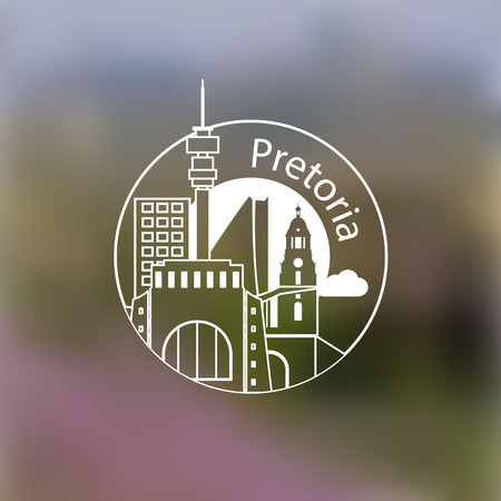 gauteng: Minimalist round icon of Pretoria is a city in the northern part of Gauteng Province, South Africa. Flat one line style. Linear Web logo on blurred background.