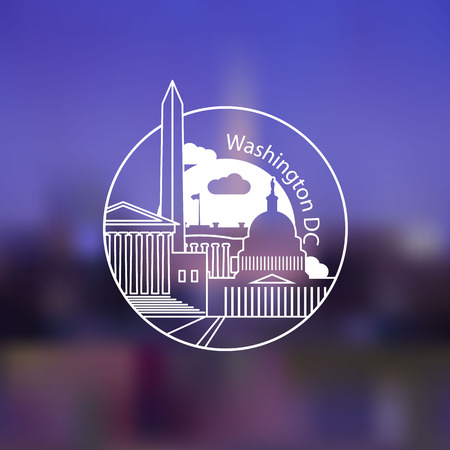 Minimalist round icon of Washington DC, USA. Flat one line style. Illustration