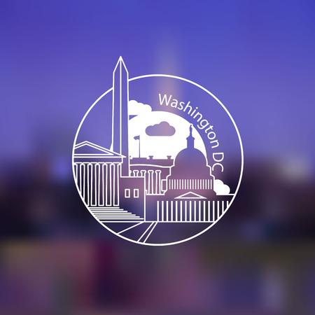 Minimalist round icon of Washington DC, USA. Flat one line style. Vettoriali