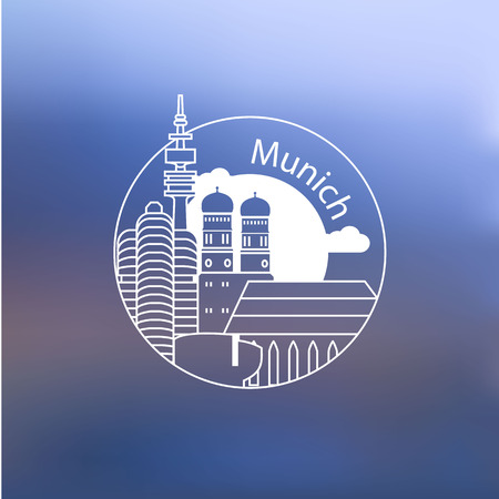 Linear round icon of Munich, Germany. Flat one line style. Trendy Line art Web logo on blurred background.