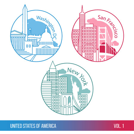 timbre voyage: Ensemble d'icônes Web ou un logo pour le tourisme ou la société politique. Les plus grandes villes des Etats-Unis. New York, Washington DC et San Francisco. Une ligne style branché. Design plat moderne. Composition ronde. Illustration