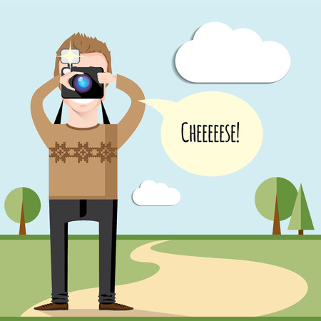 Vector creative character design of young happy wearing knitted sweater photographer taking photos of nature