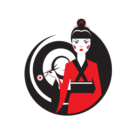 japanise: Geisha holding sushi with chopstiks isolated  on white. Long hair in the shape of spiral. Vector logo template of japanise reastaurant.