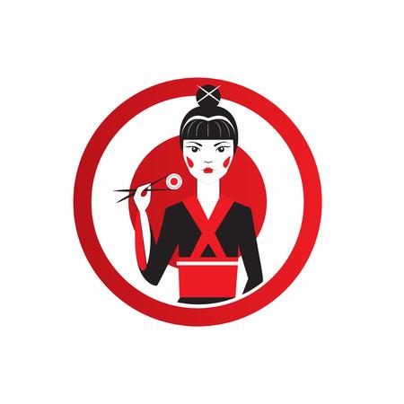 Cute Asian Girl Character on black kimono holding sushi with chopstiks.