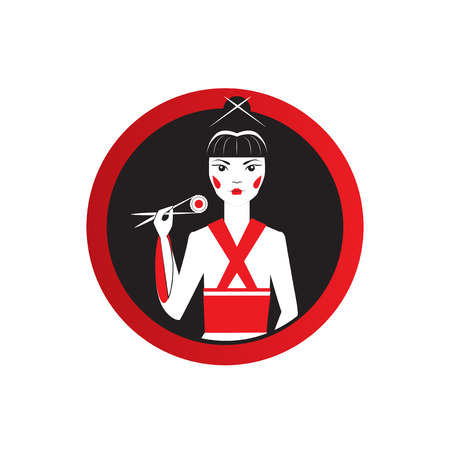 fatale: Oriantal femme fatale in a black kimono with a traditional Japanese makeup eating sushi. Cover Elegant restaurant round logo.