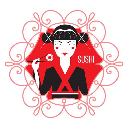 japanise: Cute Smiling Asian Girl Character on black kimono holding sushi with chopstiks. Vector logo template of japanise reastaurant. Illustration