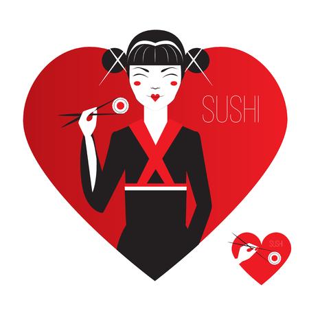 manga girl: Cute Smiling Asian Girl Character on black kimono holding sushi with chopstiks. Logo in heart shape. Love japanise cousine. Vector flat design. Illustration
