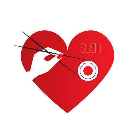 maki: Simple vector flat logo of sushi bar. Hand holding a piece of sushi maki with Chopsticks. Composition in the shape of a heart.